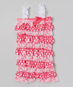 Look at this Hot Pink Polka Dot Lace Romper - Infant, Toddler