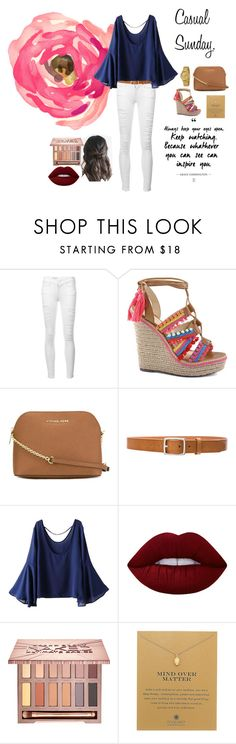 """""""Casual Sunday."""" by genesiscamilo on Polyvore featuring moda, Frame Denim, Schutz, MICHAEL Michael Kors, rag & bone, WithChic, Lime Crime, Urban Decay, Dogeared y DKNY"""