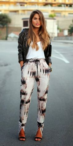 Nice fall street style with leather jacket and trouser