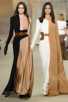 stephane rolland fall 2012 couture half color block dresses