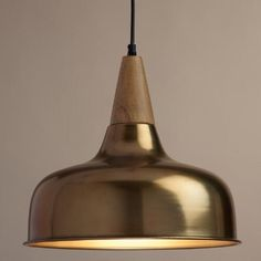 Lighting discoveries at WorldMarket --> for master bedroom on side of bed: Brass and Wood Glenn Pendant Lamp