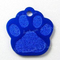 Médaille pour chien, patte de chien alu gm 3,5cmx3,3cm, bleue   7.15e