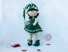 Elf doll knitted flat Knitting pattern by Christmas Elf Doll, Girl Elf, Boucle Yarn, Naughty Elf, Halloween Books, Cascade Yarn, Paintbox Yarn, Dog Sweaters, Red Heart Yarn