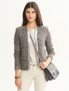 Sequin trim sweater jacket