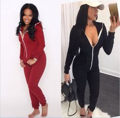 US $13.99 2017 Casual Women One Piece Outfits Jumpsuits Long Sleeve Bodycon Front Zipper Hooded Long Pants Sexy Black/Red Rompers Playsuit