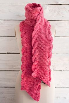 Free Knitting Pattern: Manos Maxima Bias Scarf featuring ribbed cable edges- Love it!