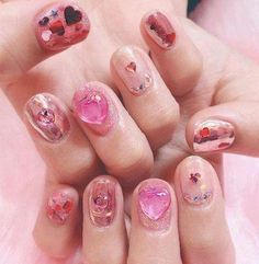 New nails design pink fashion Ideas - Pinto Online Bright Red Nails, Navy Nails, Burgundy Nails, Pink Nails, Trendy Nails, Cute Nails, Korea Nail Art, Pink Nail Designs, Nails Design