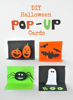 DIY Halloween Pop-Up Cards Project for kids- get your kids making fun stuff this month! From @jeanettenyberg