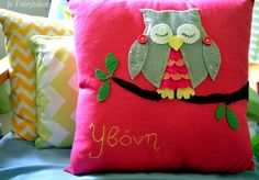 Sleepy Owl On Branch Pillow Cover Personalized by jvFairytales
