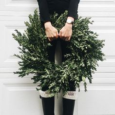 boxwood wreath + wellies