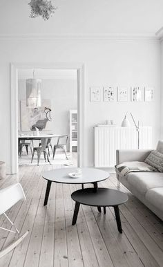 Yet another example of how stunning various shades of white look when they all come together in one gorgeous living space. #white #design #livingroom