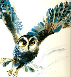Owl from Woodland Babies by Vladimir Savitsch. « The Watercolor Gallery