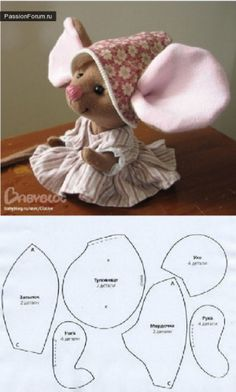 lief klein meisje Diy Sewing Projects, Sewing Hacks, Sewing Crafts, Fabric Crafts, Doll Clothes Patterns, Sewing Patterns, Doll Patterns, Mouse Crafts, Doll Crafts