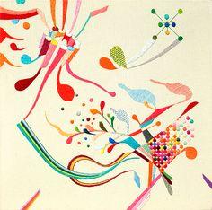 Takashi Iwasaki - Embroidery floss and fabric (hand embroidered) Textiles, Textile Patterns, Textile Prints, Textile Art, Fun Patterns, Pretty Patterns, Types Of Embroidery, Embroidery Thread, Cross Stitch Embroidery