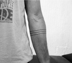 Small Minimalist Armband Black Ink Lines Guys Tattoos