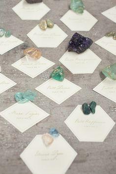 Escort Cards with crystals. Uncut crystals make cool keepsakes.