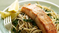 Whole Wheat Spaghetti with Lemon, Basil, and Salmon