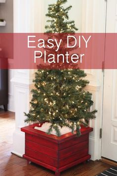 LOVE these easy DIY planters....they fit our christmas trees but could easily be used for potted plants or made with exterior wood for outside!