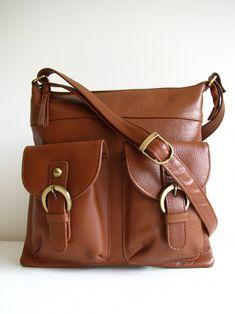 Brown Leather Pocket Messenger Bag