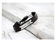Personalized Men's Leather Bracelet, Personalized Jewelry, Custom Bracelet, Personalized Gift, Unisex Bracelet,  Birthday Gift,