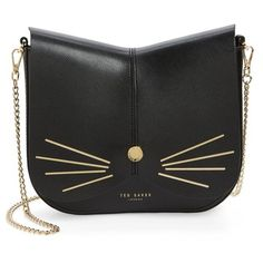 Women's Ted Baker London Cat Leather Crossbody Bag (€185) ❤ liked on Polyvore featuring bags, handbags, shoulder bags, black, purse crossbody, leather shoulder bag, shoulder handbags, cat purse and man bag