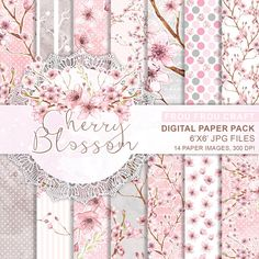 Cherry Blossom Digital Paper Pack Instant by froufroucraft on Etsy Digital Scrapbook Paper, Kit Scrapbook, Digital Paper Free, Papel Scrapbook, Digital Papers, Digital Art, Free Paper, Clipart, Packs Papier