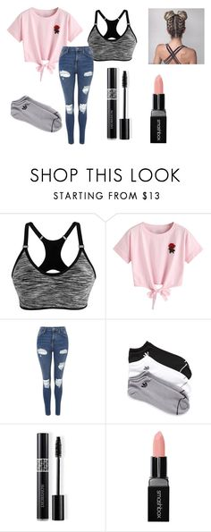 """""""Bored"""" by pawlicki16 on Polyvore featuring WithChic, Topshop, adidas, Christian Dior and Smashbox"""