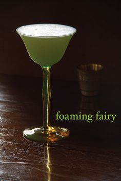 Foaming Fairy: shaken absinthe + gin + a circlet of Creole Bitters sounds like poetry or like I'd think I could write poetry after drinking one.