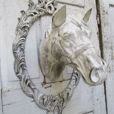 Painted horse head wall mount faux taxidermy w/ frame French farmhouse white and gray shabby cottage chic wall decor anita spero design