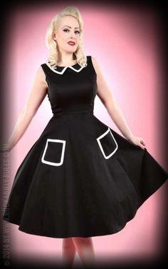 Kleid Pocket Prescilla, schwarz weiß. Hochwertiges Kleid für jede Rockabella im Diner Stil
