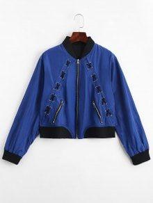Zip Up Criss Cross Bomber Jacket - Blue M