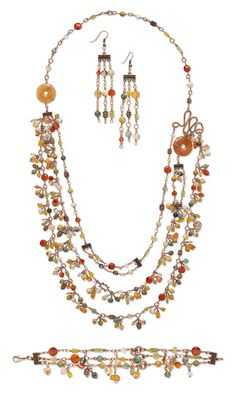 """""""Gemstone Delight"""" Necklace, Bracelet and Earring Set by Designer Artist Laura Johnson. Finalist in the Fire Mountain Gems and Beads' Contest 2011 featuring Gemstones. #jewelrymaking #gemstonejewelry #beading"""