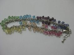Rainbow bracelet-Swarovski crystal element and rhodium chain.