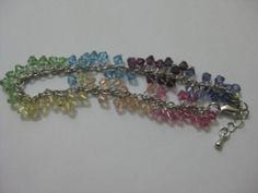 Rainbow bracelet-Swarovski crystal element and rhodium chain.