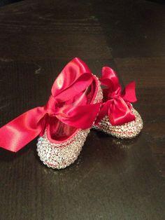 Swarovski Crystal Baby Crib Shoes, Wedding, Christening, Baptism, Holiday,Red, Velvet, Bow, Ballet.