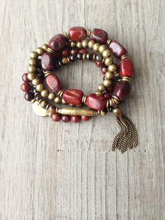Red Jasper African Beaded Tassel