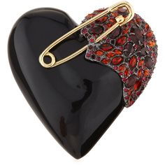 Alexis Bittar Lucite Crystal Broken Heart Pin ($154) ❤ liked on Polyvore featuring jewelry, brooches, black, pin brooch, pin jewelry, alexis bittar brooch, heart-shaped jewelry and crystal brooch