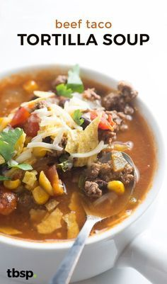 This simple tortilla soup is loaded with ground beef and plenty of veggies. Mix things up with a beef taco-inspired tortilla soup instead of the more traditional chicken version. (Mexican Recipes With Ground Beef) Mexican Food Recipes, Crockpot Recipes, Soup Recipes, Dinner Recipes, Cooking Recipes, Healthy Recipes, Milk Recipes, Healthy Soup, Shrimp Recipes