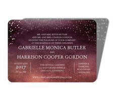 Embrace the warmth of autumn with this twilight purple laser-cut wedding invitation.