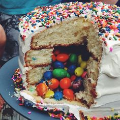the awesome m filled cake...the kids LOVED it!! the secret? bake 4 layers of cake and cut a circle out of the middle 2 layers. fill the hole with any kind of candy you want and add the top layer of cake. the candy spills out everywhere, much to the delight of everyone :)