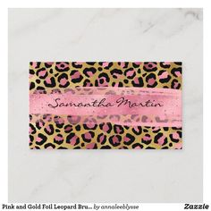 Pink and Gold Foil Leopard Brush Stroke Business Card Create Your Own, Create Yourself, Online Gifts, Zazzle Invitations, Brush Strokes, Gold Foil, Pink And Gold, Business Cards, Personalized Gifts
