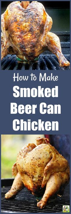 Learn How to Make Smoked Beer Can Chicken. Get that smoker going because making smoked beer can chicken is easier than you think! Just use a can of beer (or juice), bottled marinade, and some store-bought barbeque rub. Tastes great and worth the effort! Smoked Beer Can Chicken, Smoked Chicken Recipes, Beer Chicken, Canned Chicken, Smoked Shrimp, Pellet Grill Recipes, Grilling Recipes, Smoked Ham Recipe, Green Egg Recipes