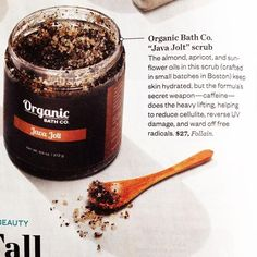 Happy National Coffee Day! While your morning cup of Java will perk you up it's also an absolute treat for your skin! The Fair Trade certified coffee grinds in Java Jolt (as seen in Boston Magazine) are a great stimulating exfoliator and help improve circulation which makes skin appear firmer. The aroma of the coffee & peppermint essential oil will awaken all your senses and have you ready to conquer the week!  #JavaJolt #NationalCoffeeDay