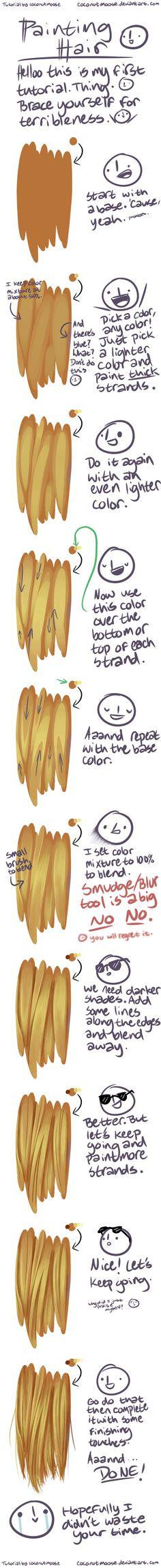 Painting Hair Digitally by coconutmoose.deviantart.com on @DeviantArt