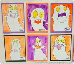 Ghost Directed Drawings Halloween Craftivity Art Project Bulletin Board display