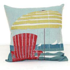 Red Beach Chair Throw Pillow - Coastal Home Decor Accent - California Seashell Company