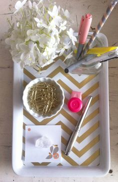 DIY Gold Chevron Desk Tray, office décor. I really love the gold and white zig zags.