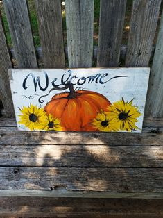 Fall Canvas Painting, Pallet Painting, Autumn Painting, Autumn Art, Painting On Wood, Fall Paintings, Canvas Paintings, Fall Wood Signs, Fall Signs