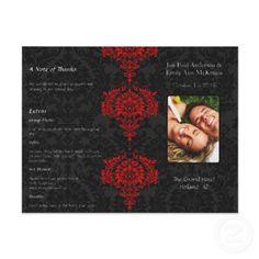 Photo Wedding Program Black Grey & Red Damask Flyer Design by samack