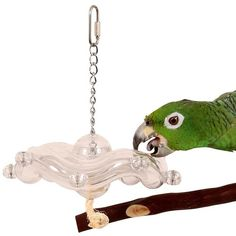 Tilt a Wheel Hanging Parrot Foraging Toy Interactive treat holder to help stimulate your Parrot through the activity of foraging.